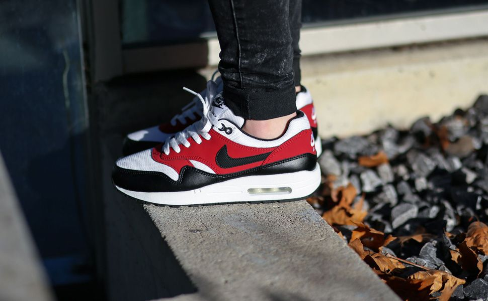 Nike Air Max 1 GS 555766-117 Black White Red, 36