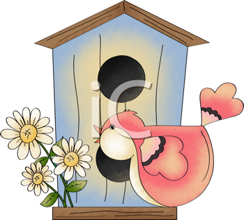 Royalty Free Clipart Image of a Birdhouse and Bird ...