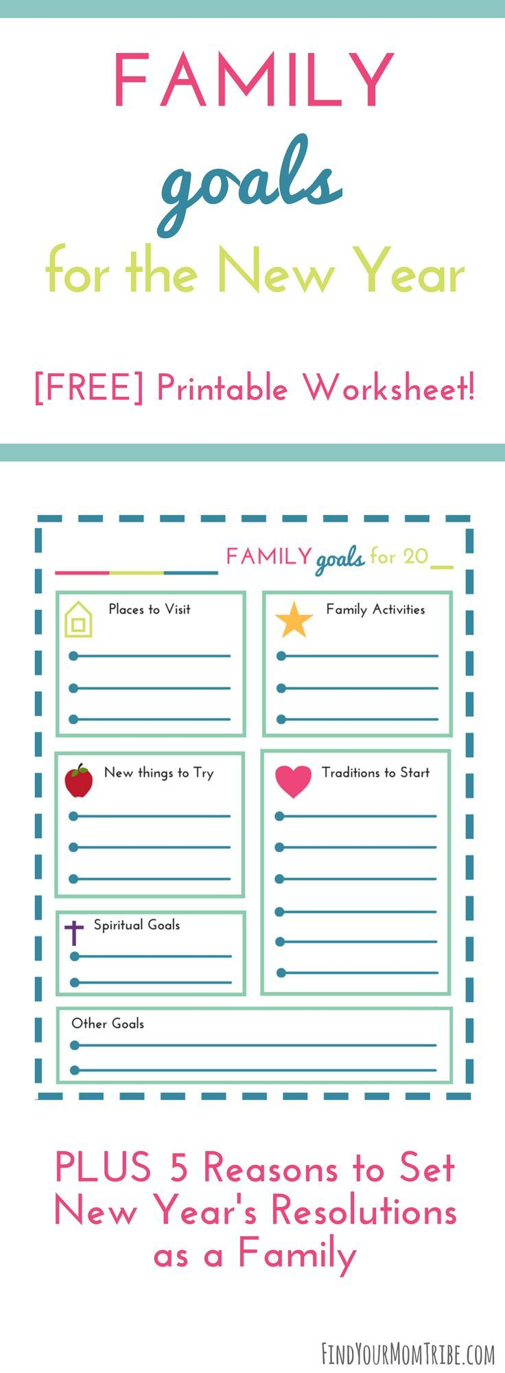image about New Year's Worksheets Printable named Fresh A long time Resolutions for Family members (with totally free printable