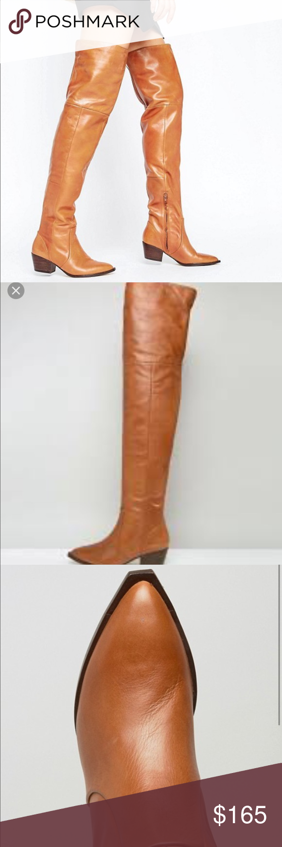 37fa352be15 NEW ALDO Deedee Cognac Leather Over The Knee Boots Thigh s the limit in  sky-high leather OTK boots. Reintroduced with a western heel