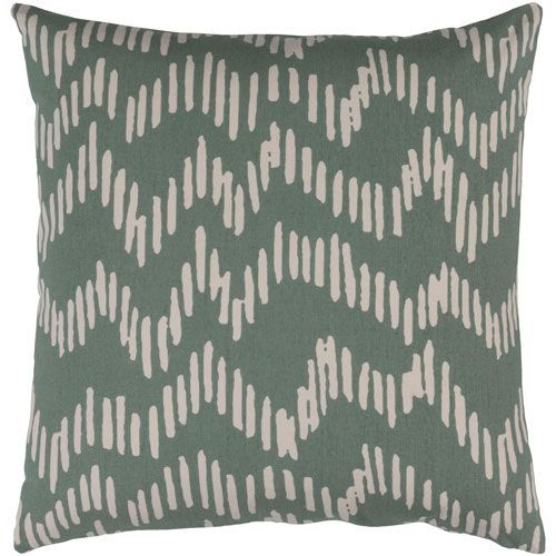 Somerset Moss and Beige 18-Inch Pillow with Down Fill