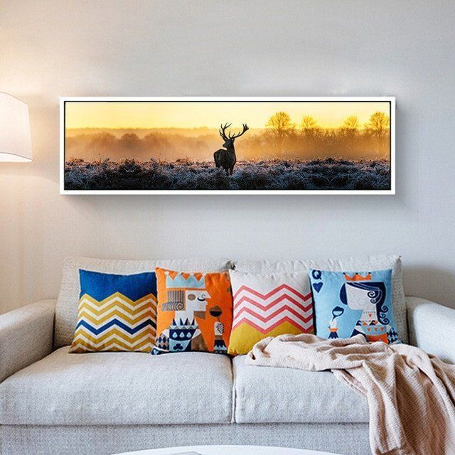 Living Room Wall Decor Pictures Canvas Print Long Painting Deer Poster Modern Wacanvas