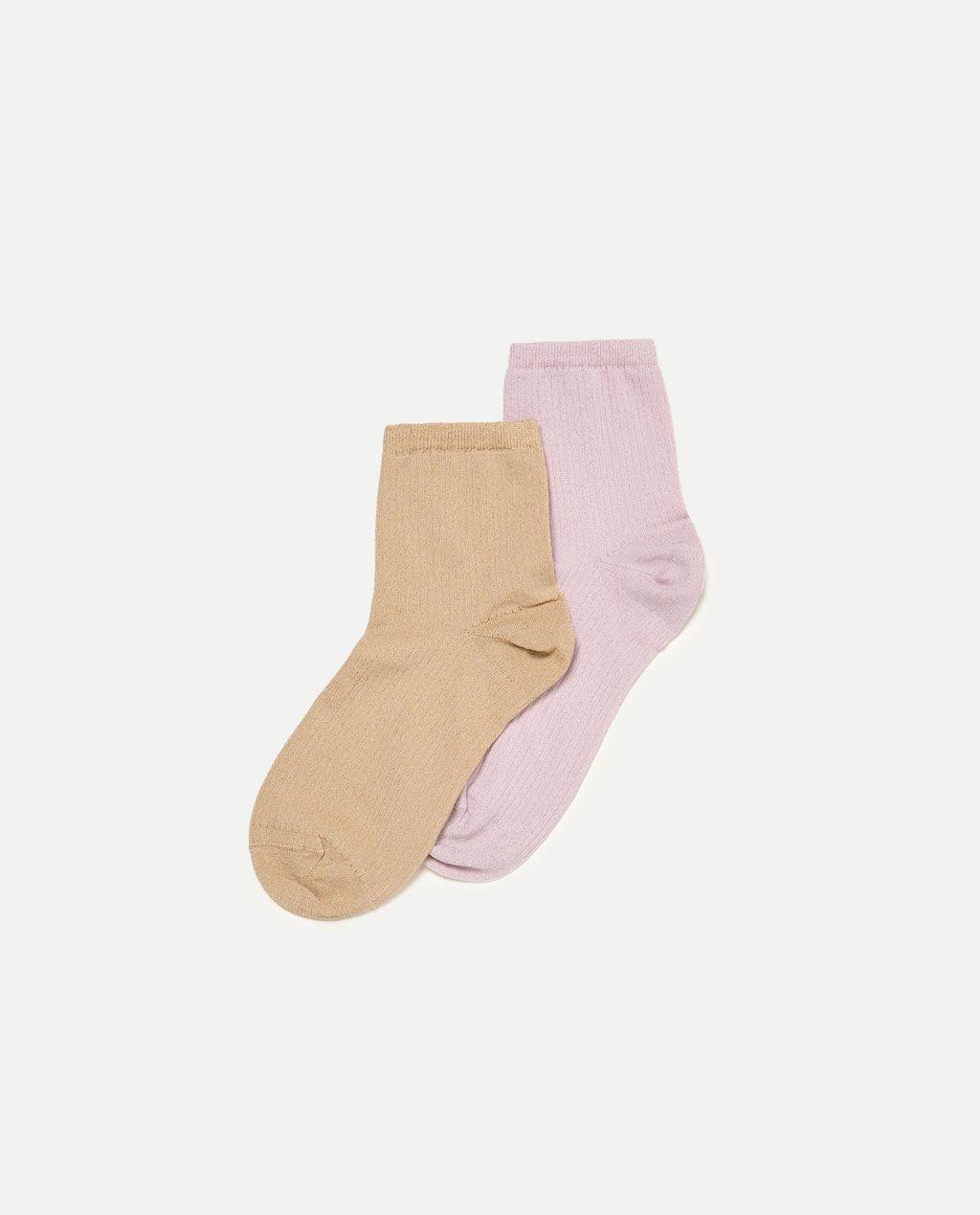Image 1 of 2-PACK OF RIBBED SHIMMER SOCKS from Zara