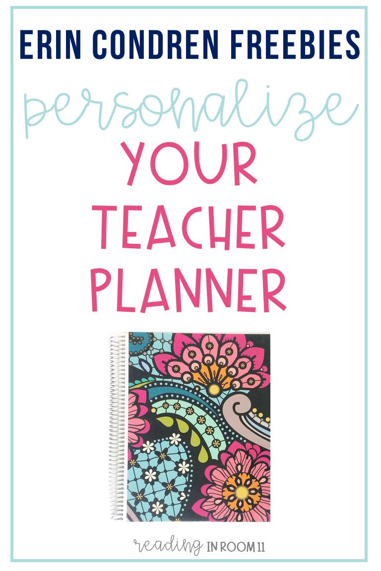 Erin Condren Freebies: Personalize your Teacher Planner