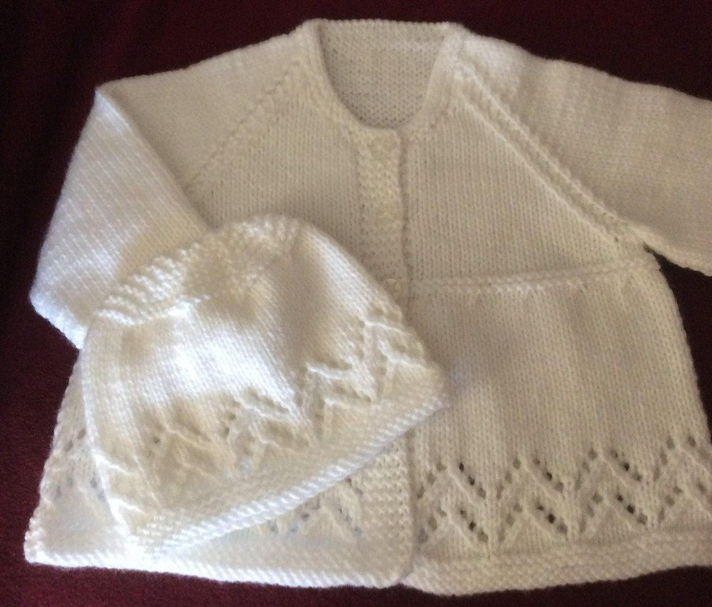 Lacy chevron matinee jacket toque in rico baby classic dk lacy chevron matinee jacket toque in rico baby classic dk baby knittingknitting patternslace bankloansurffo Images
