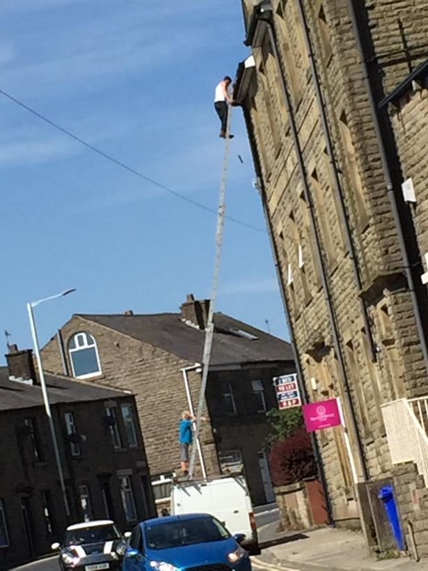 A Builder Was Pictured Perching A 30ft Ladder On Top Of A Van On A