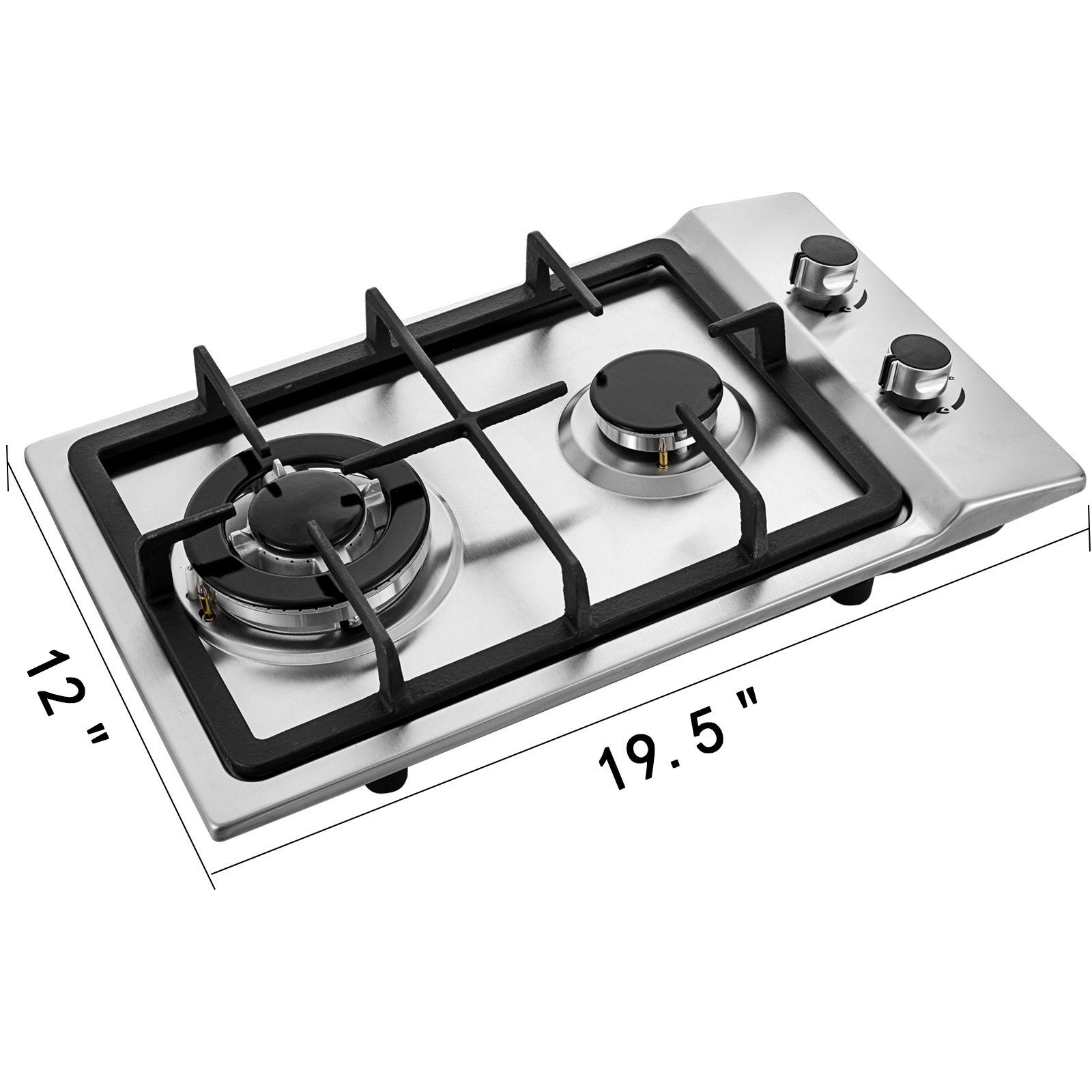 12 2 Burners Gas Cooktop Stainless Steel Iron Grates Double Oven Dura High Quality Equipment And Tools With Unbeatable Prices In 2020 Gas Cooktop Gas Stove Cooktop