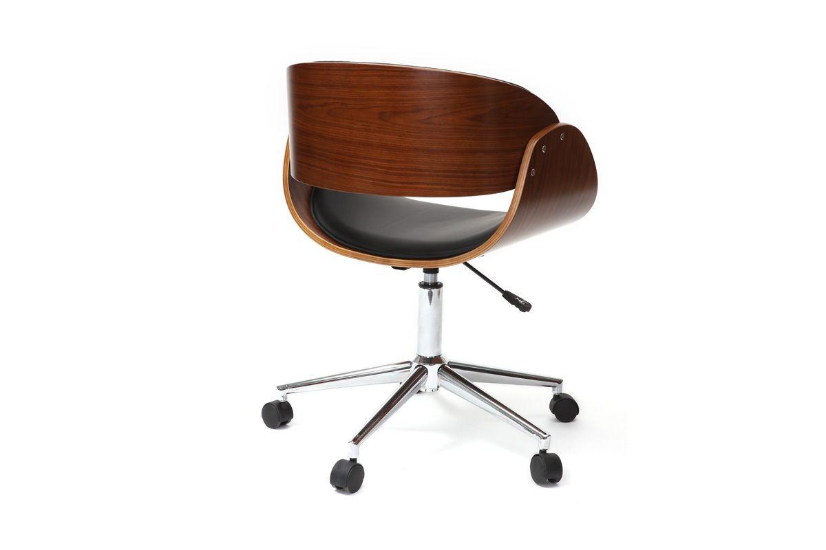 Chaise De Bureau A Roulettes Noir Et Noyer Bent Miliboo Chaise Bureau Chaise Design Fauteuil Bureau Design