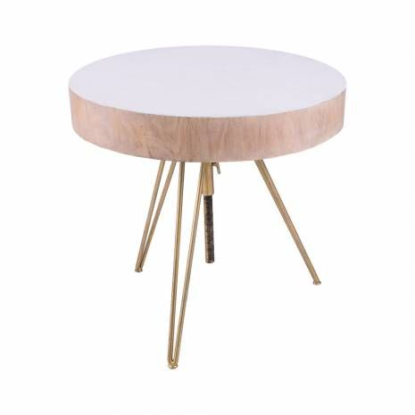 Contemporary White Wood Accent Table With Gold Hairpin Legs Adjustable Suar Wood Accent Table With Gold Finis Wood Accent Table Coffee Table Wood Accent Table