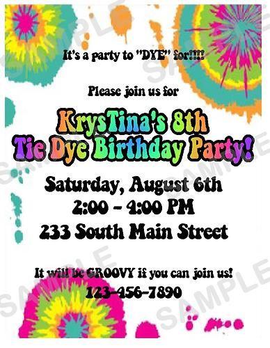 birthday party invitations tie dye die hippie tiedye ebay
