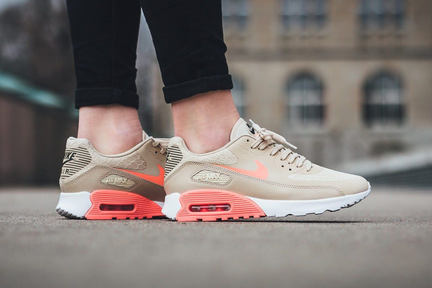 WOMEN'S NIKE AIR MAX 90 ULTRA 2.0 SHOE - Oatmeal/White/Dark Grey/Lava Glow