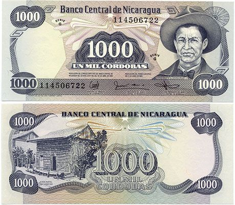 Nicarawgua Currency 1943 1 Franc P55b Vf Nicaragua Nicaragua Law 1985 1987 1000 Cordobas Bank Notes Banknotes Money Paper Currency