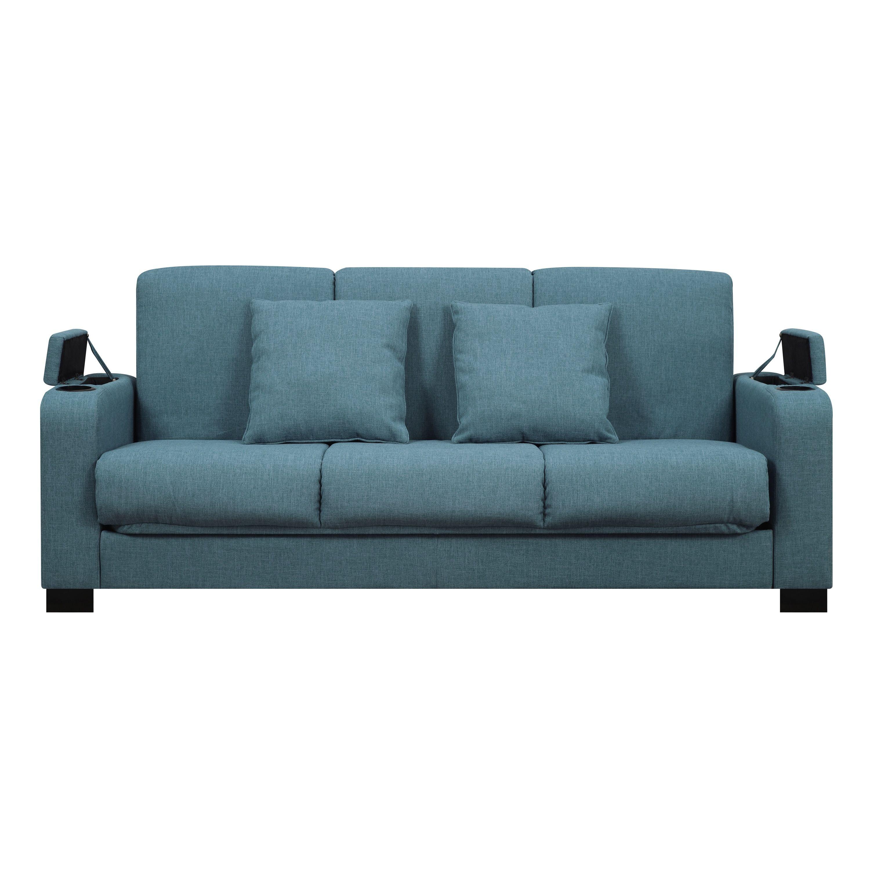 Handy Living Storage Arm Convert A Couch Blue Linen Futon Sleeper
