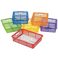 These baskets would help organize the crayon theme classroom. Click through for your own!
