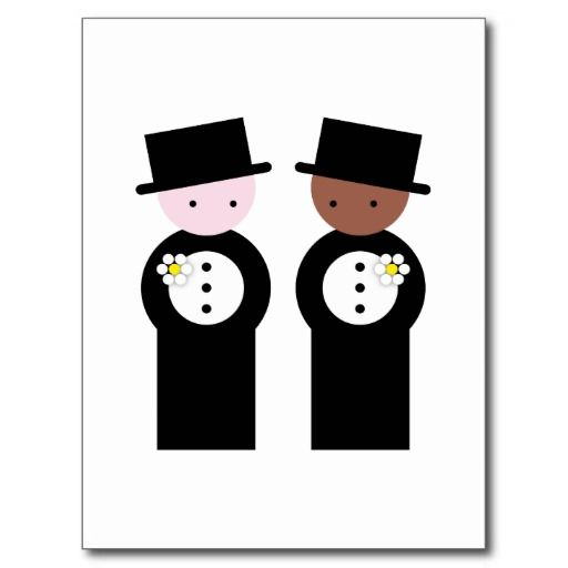Two grooms, one colored, one caucasian post card