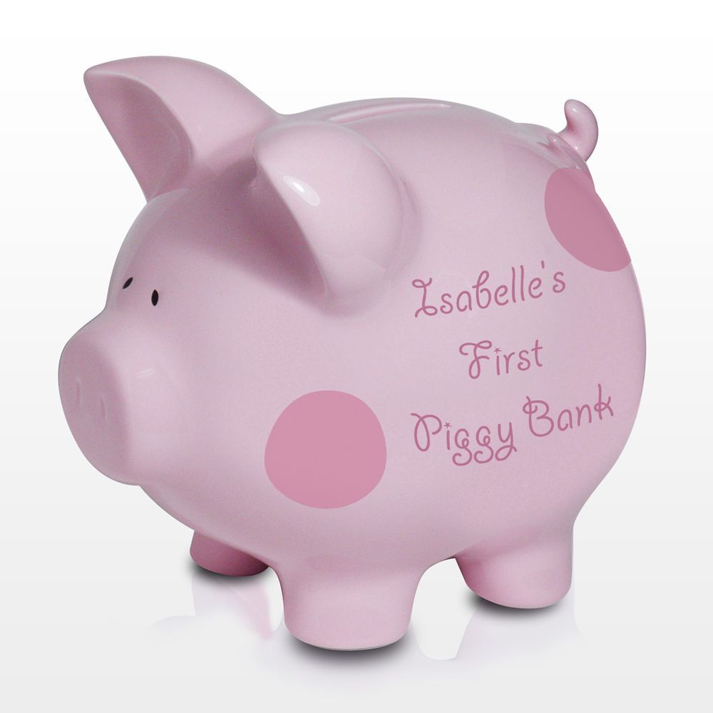 The games factory 2 piggy banks money box and personalised baby new personalised baby girls piggy bank pink coin money box christening gift idea negle Images