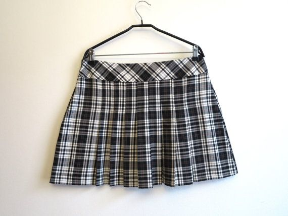 Black White Tartan Plaid Mini Skirt Pleated Checkered Skirt Large ...