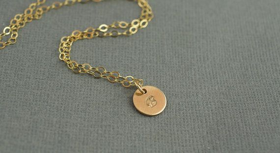 Delicate Gold Hand Stamped Initial Necklace  by ShopTheCopperFox