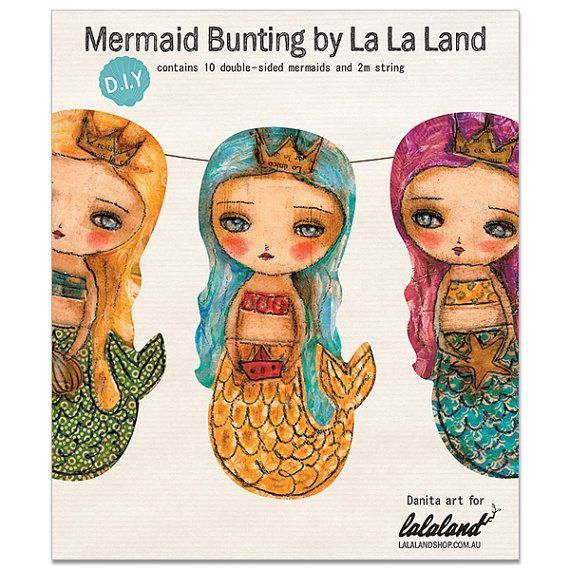 Hard to resist these delightful little sweeties... Mermaid Bunting by Danita Art $16.95 AUD. including delivery!