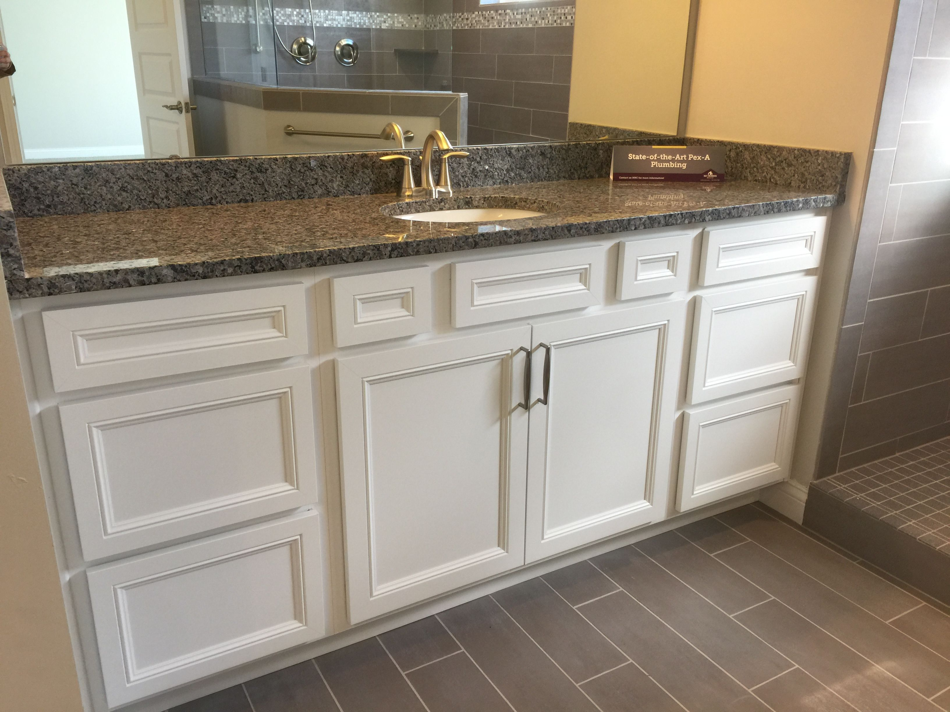 Lillian Purestyle White Cabinets, Caledonia Granite