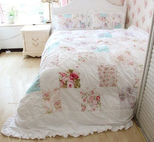 Robot Check Shabby Chic Quilts Floral Bedding Sets Girls Duvet Covers