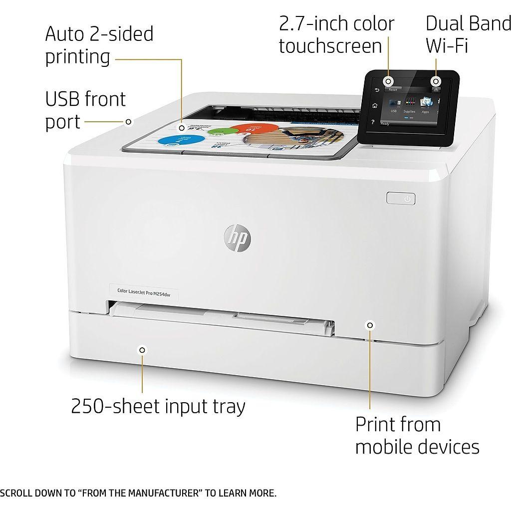 Hp Laserjet Pro M254dw Wireless Color Laser Printer T6b60a Laser Printer Printer Color