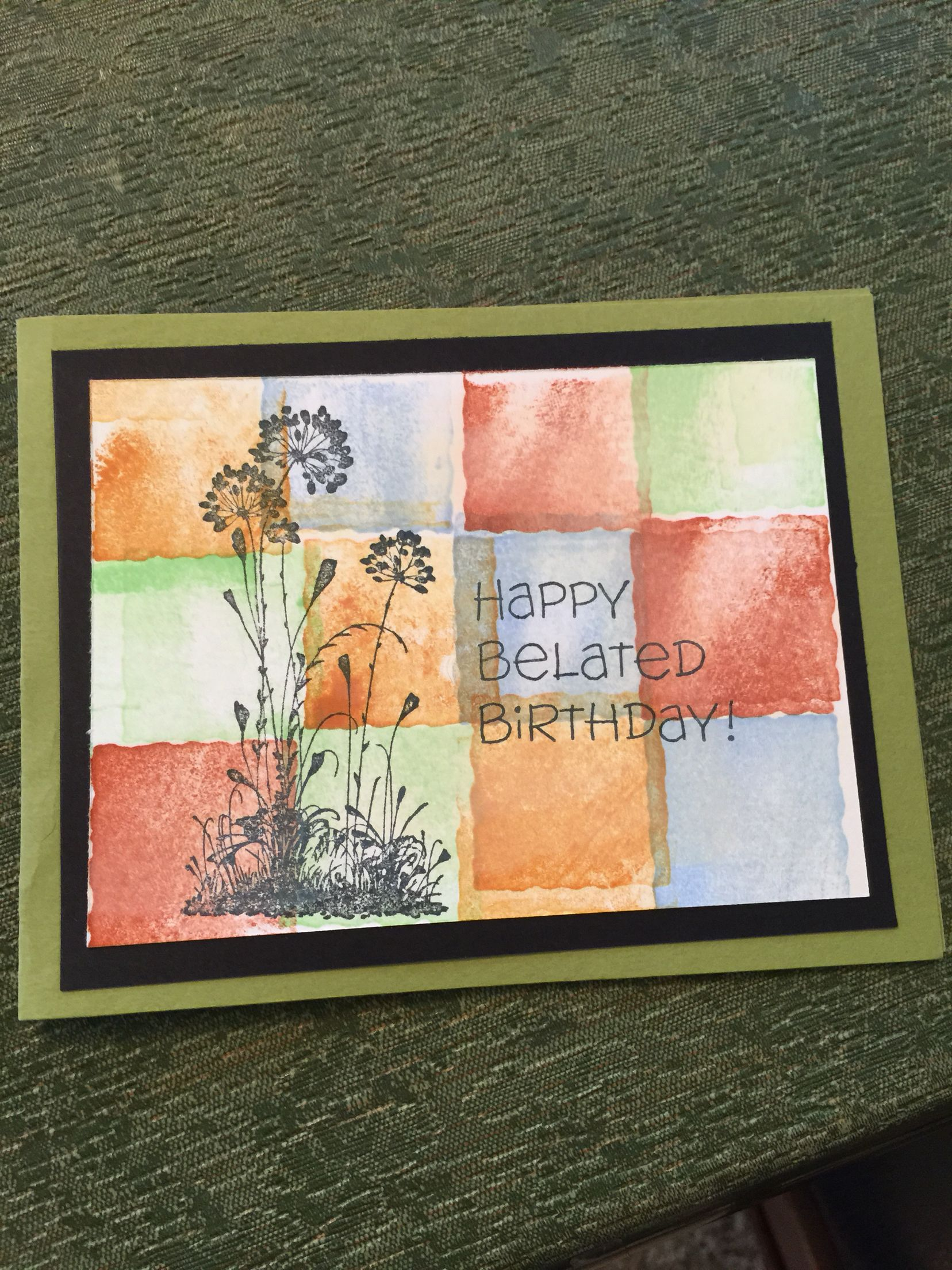 Happy belated birthday using 'Little shapes' and 'Serene Silhouettes' stamps from Stampin' Up