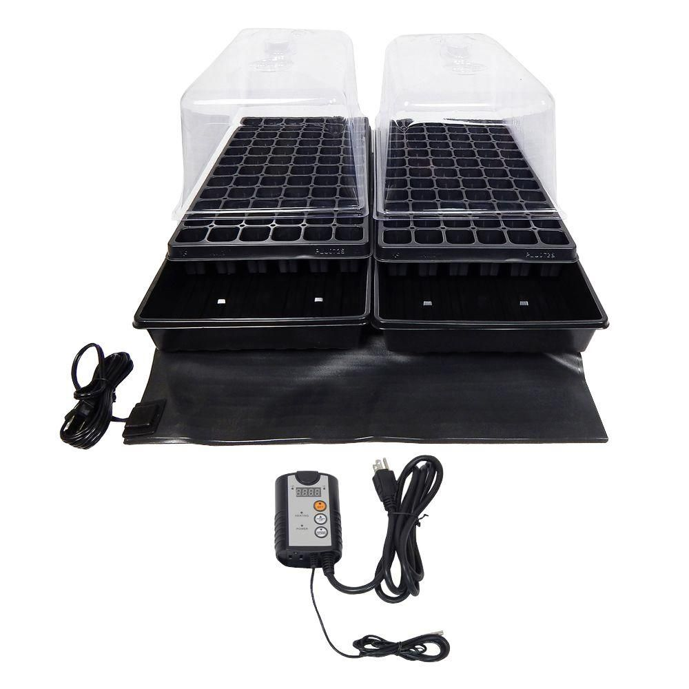 Dual Propagation Kit with Heat Mat, Flat Tray, Flat Insert, Tall Dome, Tray Heat Mat with Thermostat, Black