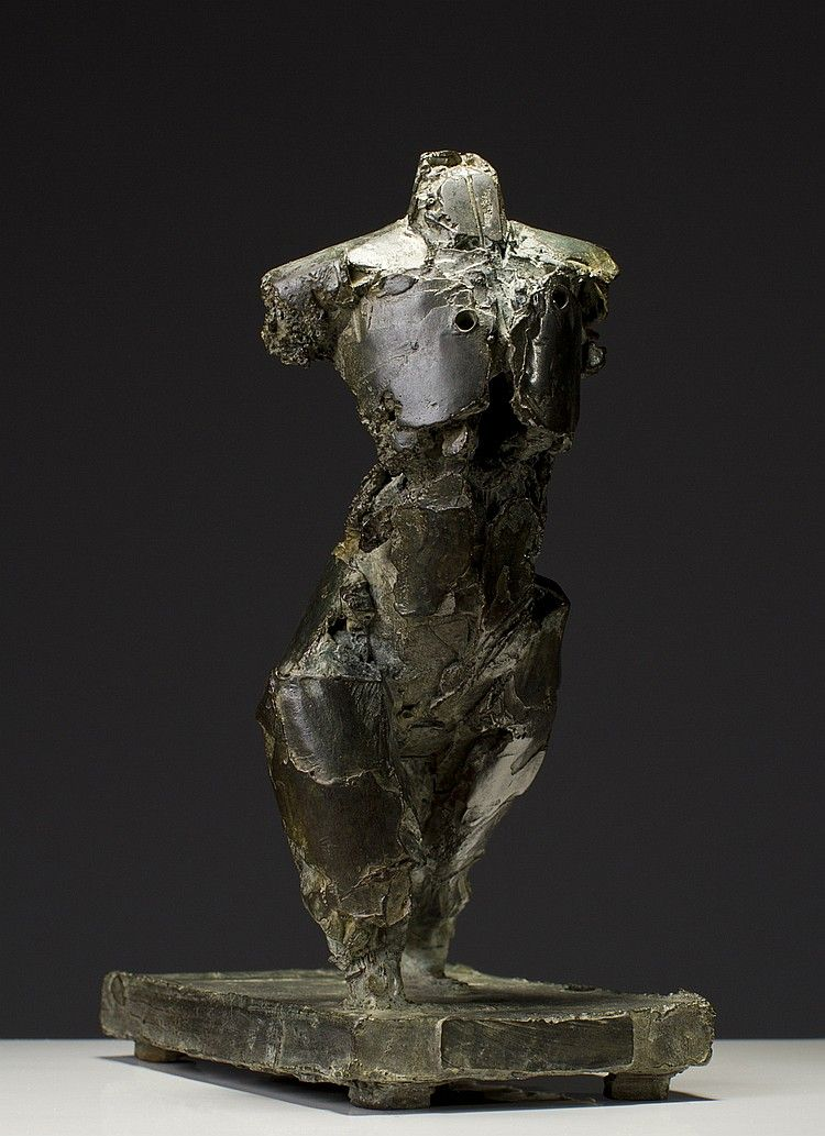 """Henry Neuman (American 20th C.) Abstract Brutalist Bronze Sculpture of Walking Figure. Sculpture is of a humanoid figure walking on a bronze base. Signed H. Neuman and dated 1984 and 3/9 with a copyright stamp. In good condition. Measures 9 3/4"""" high and the base measures 7 1/2"""" long x 4"""" wide."""