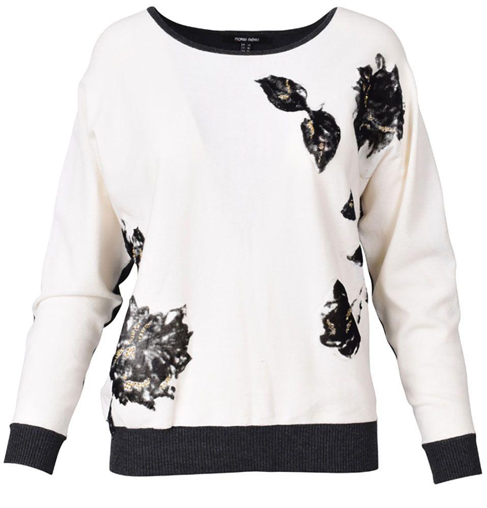 Ecru donkergrijze trui met donkergrijze details online bij