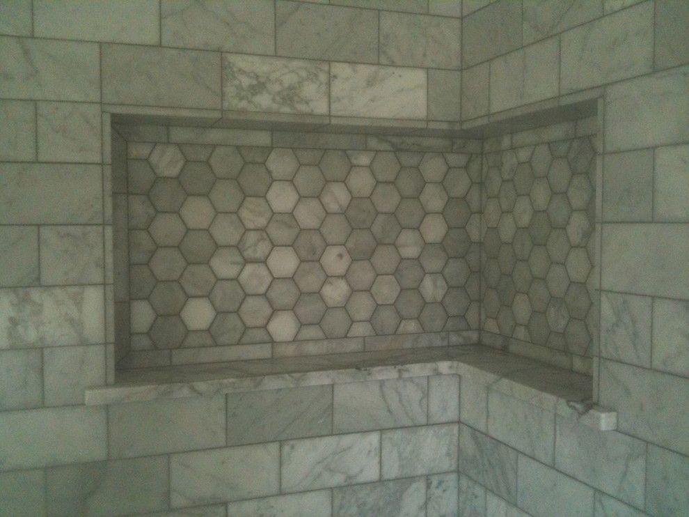Beautiful Corner Shower Shelf With Hexagon Next To Shampoo Shelf