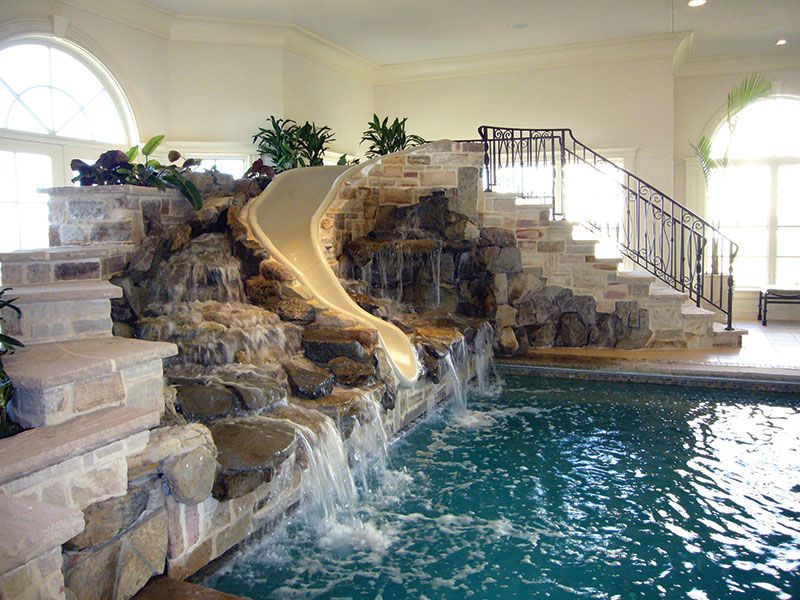 Superb Indoor Pool House With Slide Used Pool Slides