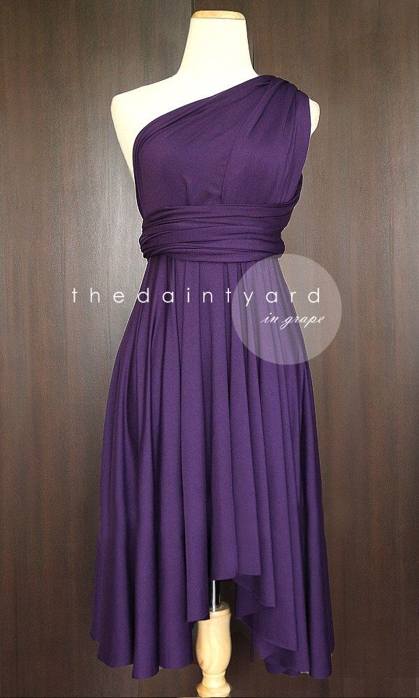 Tdy Grape Short Asymmetrical Bridesmaid Dress Convertible Dress