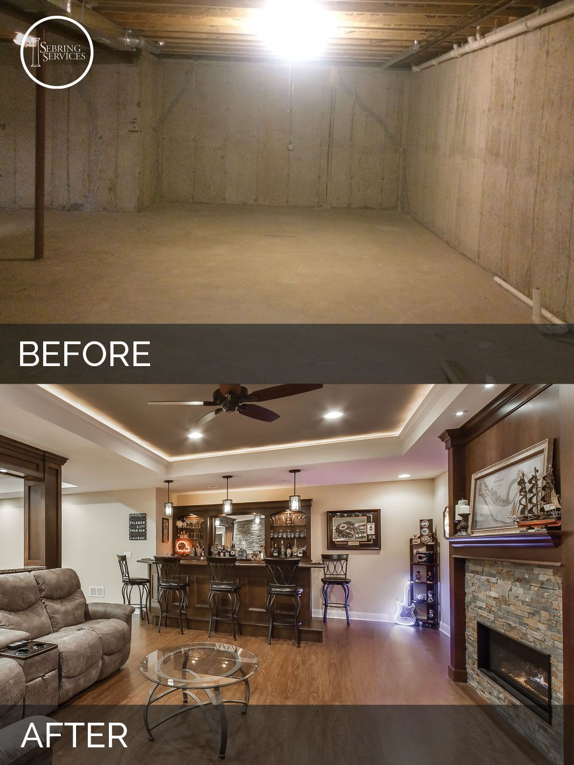bolingbrook before after basement finish project sebring services basement pinterest. Black Bedroom Furniture Sets. Home Design Ideas