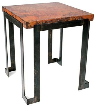 Steel Strap End Table With Hammered Copper Top By Prima Eclectic - Copper top accent table