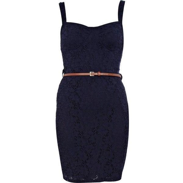 ecfa95f59 River Island Navy lace bustier bodycon dress (72 QAR) ❤ liked on ...
