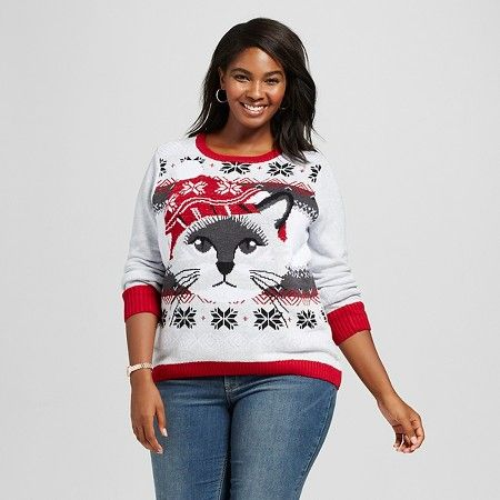 Women's Plus Size Sweater Fairisle Cat Hi-Lo Sweater Gray 3X ...