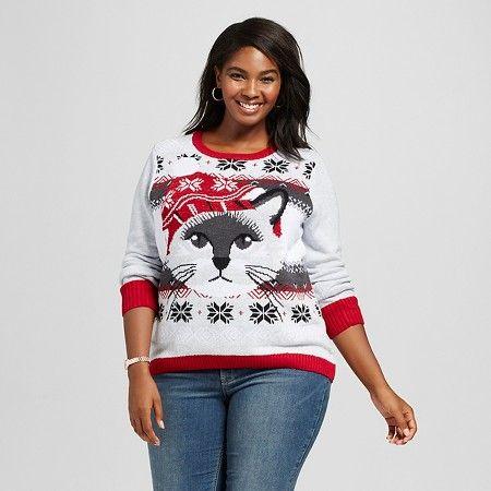 Womens Plus Size Sweater Fairisle Cat Hi Lo Sweater Gray 3x Ugly
