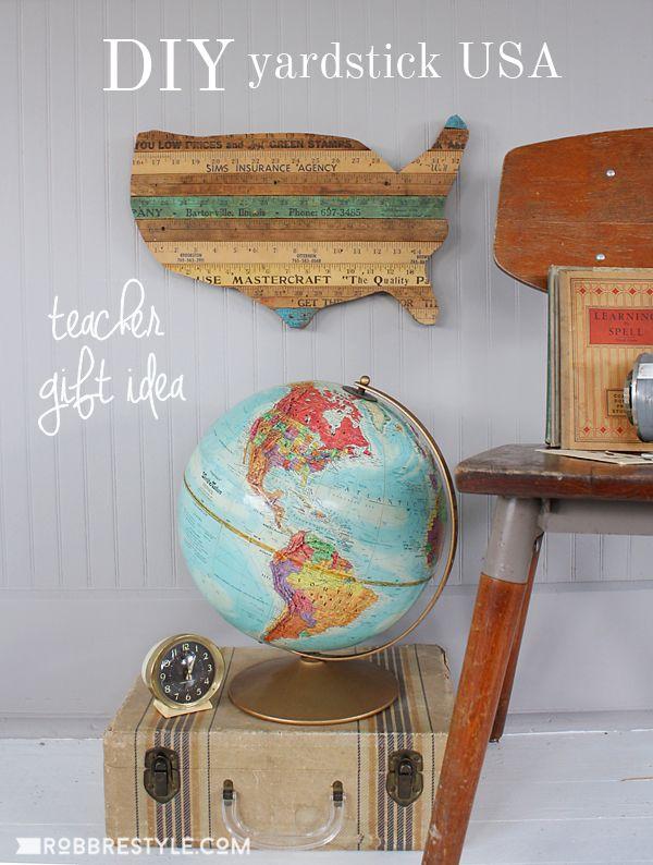DIY Teacher Gift Idea Yardstick USA Tutorial   Repurpose Vintage Yardsticks  Into A Creative Christmas Art Awesome Design
