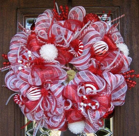 peppermint christmas ideas | Christmas Ideas / Deco Mesh PEPPERMINT CHRISTMAS WREATH