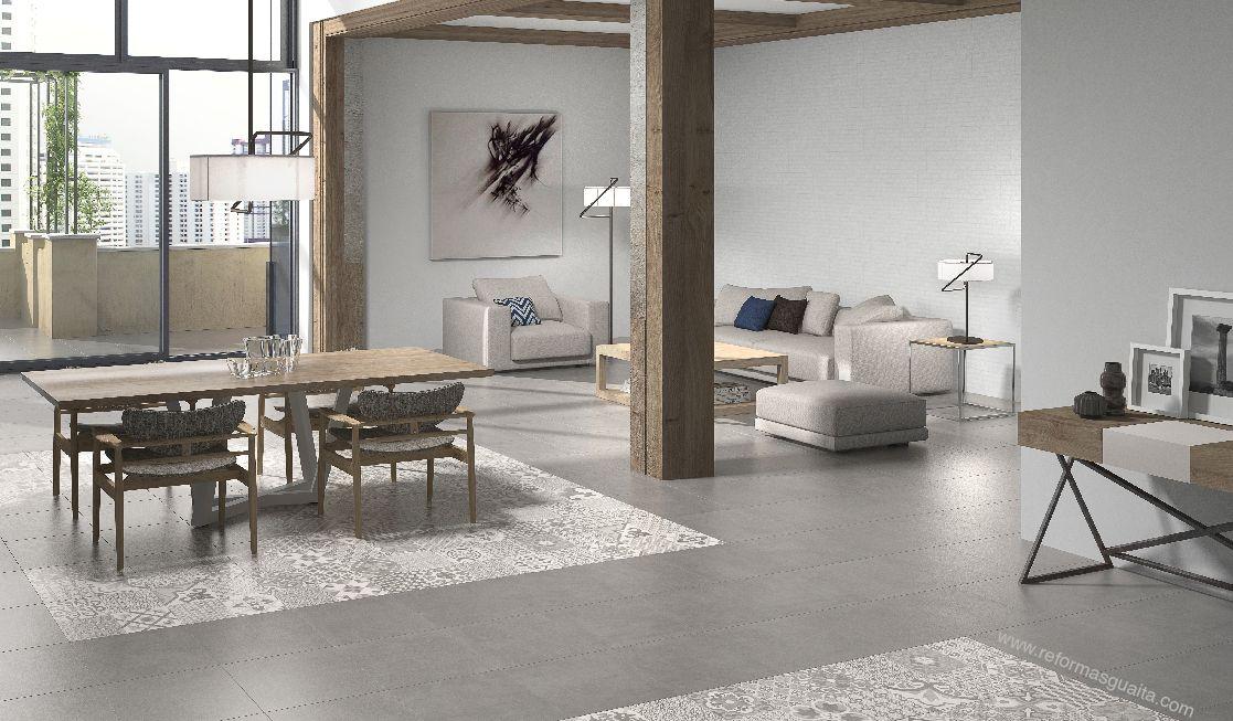 Sal n con combinaci n de suelos para diferenciar espacios - Suelos para cocinas y banos ...