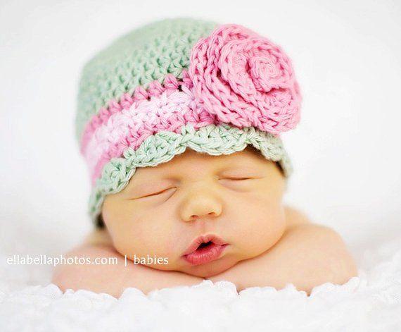 Crochet Hat Pattern Newborn Crochet Hat Flower Flapper Beanie Hat ...