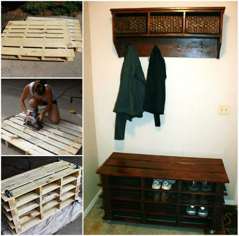 Repurposed Pallets For Entry Way Shoe Organizer. Hint