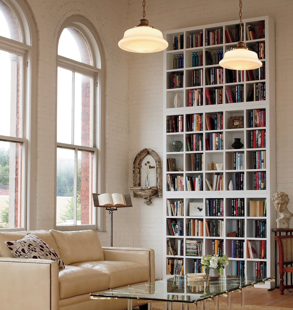Baldwin in styling bookshelves lights and farm house