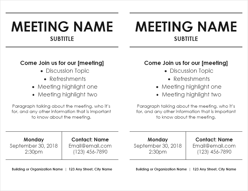 Meeting Flyer Template 2 Per Page By Vertex42 Flyers