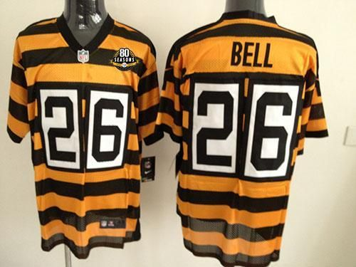Nike Steelers  26 Le Veon Bell Yellow Black Alternate 80TH Throwback Men s  Stitched NFL Elite Jersey And  Melvin Gordon jersey e5f9c2969