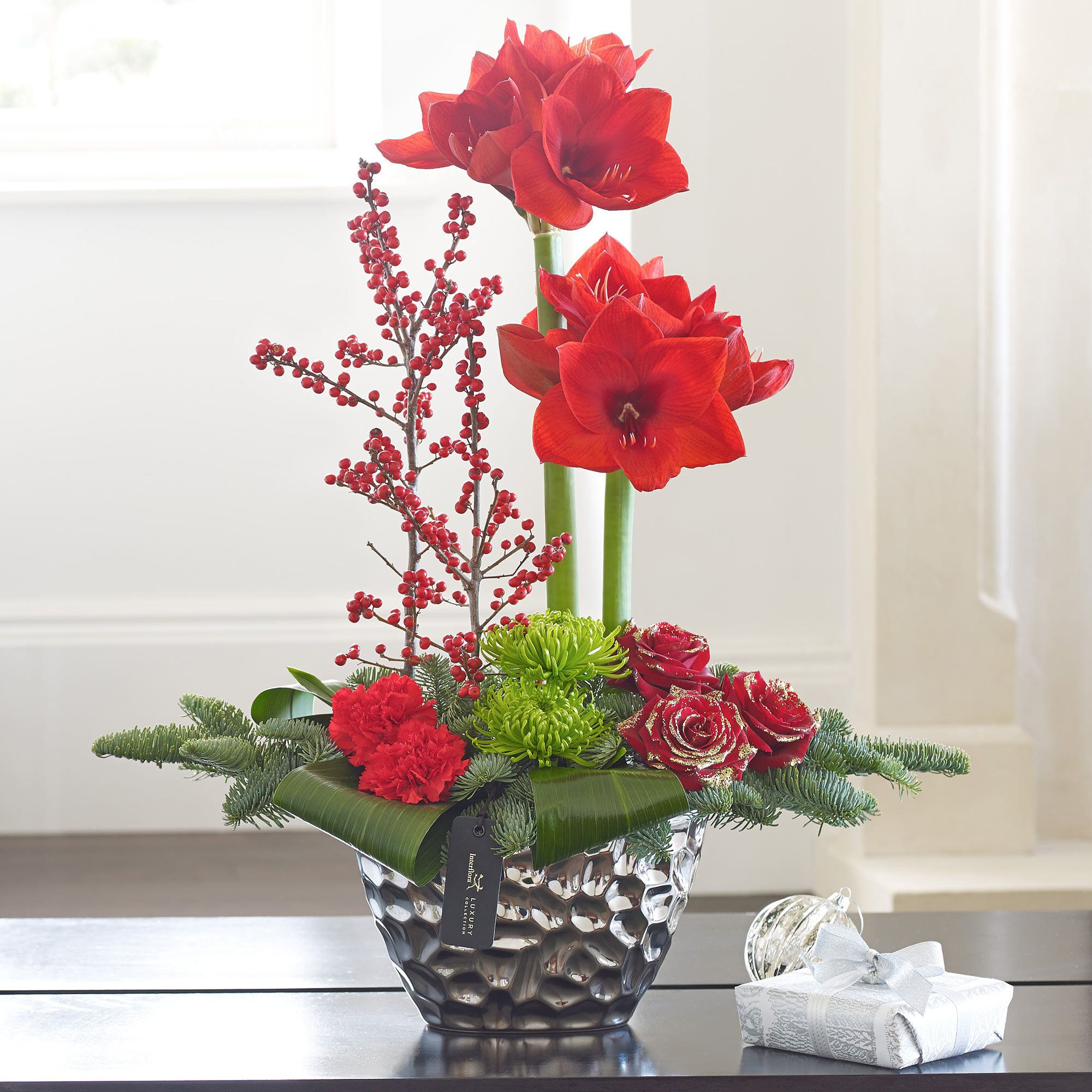 This luxurious arrangement of Amaryllis looks fabulous in
