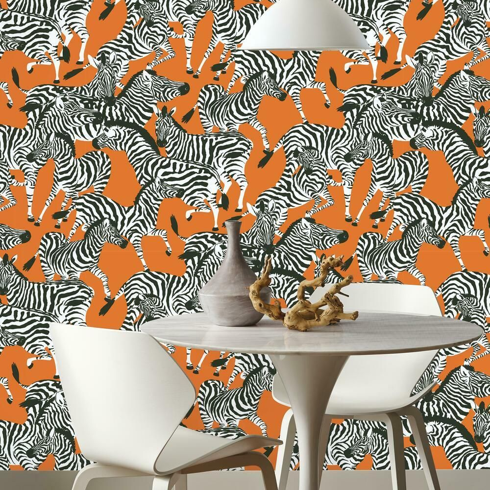 Waverly Herd Together Peel And Stick Wallpaper Peel And Stick Wallpaper Zebra Living Room Zebra Wallpaper