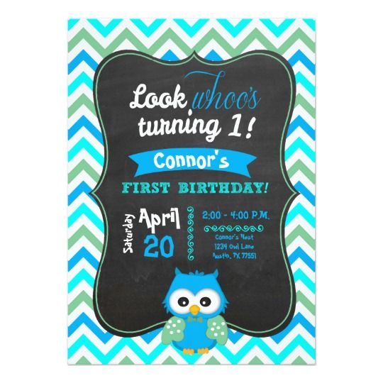 Owl Boy First Birthday - Look Whoos One, Chevron $7.50 #owlbirthday #invitations #custominvite