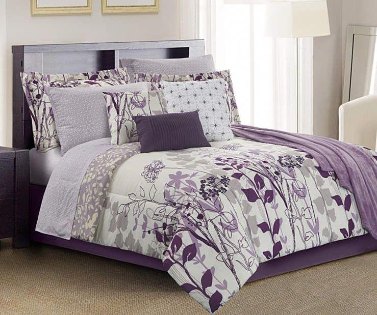 Living Colors Janet Floral Purple Queen 12-Piece Reversible Comforter Set